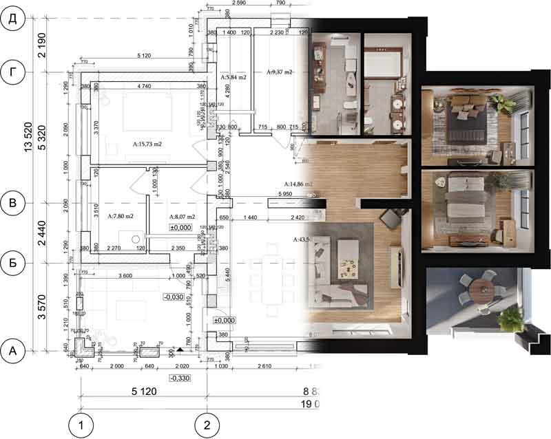 Bauplan Architektur Visualisierung Baubüro